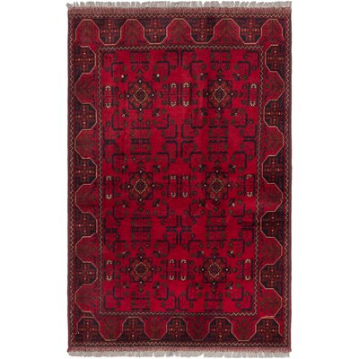 Finest Khal Mohammadi Hand-Knotted Red Area Rug Rug Size: 42 x 62