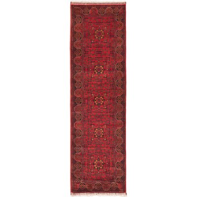 Finest Khal Mohammadi Hand-Knotted Dark Red Area Rug Rug Size: Runner 29 x 92
