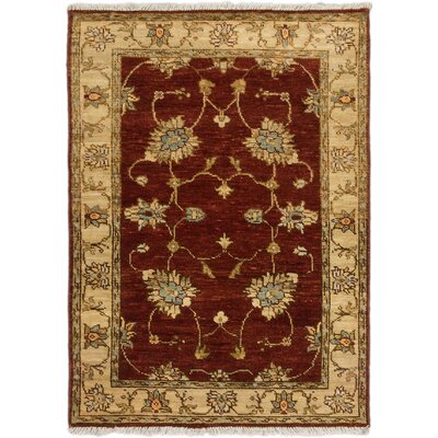 Biddlesden Hand-Knotted Dark Orange-Red Area Rug