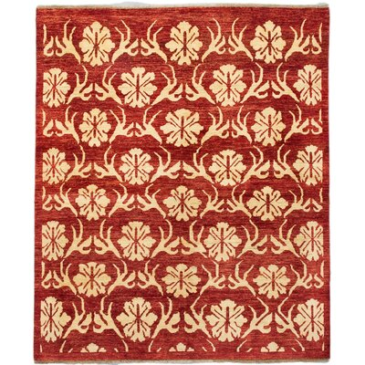 Peshawar Ziegler Hand-Knotted Dark Red Area Rug