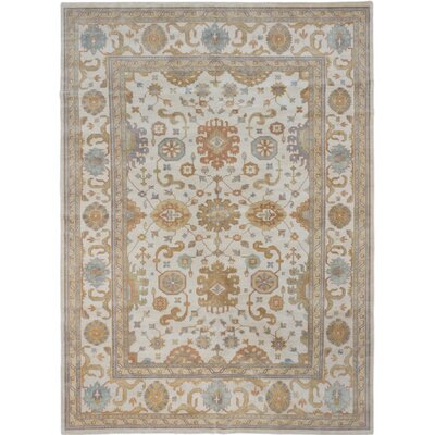 One-of-a-Kind Royal Ushak Hand-Knotted Cream Area Rug Rug Size: 910 x 138