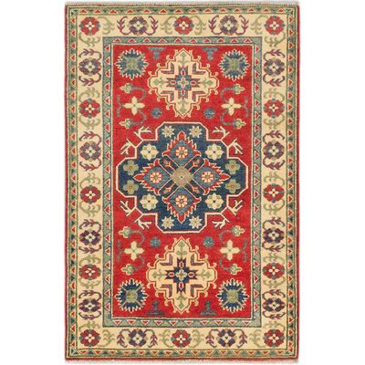 Finest Gazni Hand-Knotted Red Area Rug Rug Size: 3 x 47