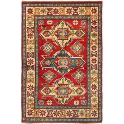 Finest Gazni Hand-Knotted Red/Biege Area Rug