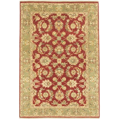 Chobi Twisted Hand-Knotted Dark Red Area Rug