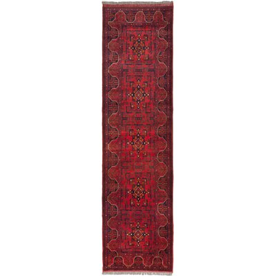 Finest Khal Mohammadi Hand-Knotted Dark Red Area Rug Rug Size: Runner 26 x 98
