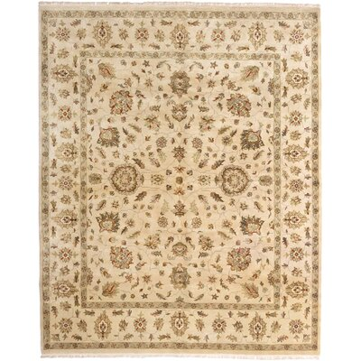 Kenmar Hand-Knotted Beige Area Rug