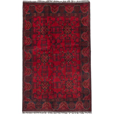 Finest Khal Mohammadi Hand-Knotted Red Area Rug Rug Size: 4'1
