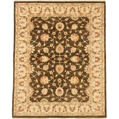 Chobi Finest Hand-Knotted Dark Brown Area Rug