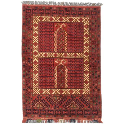 Finest Khal Mohammadi Hand-Knotted Dark Orange-Red Area Rug Rug Size: 35 x 410