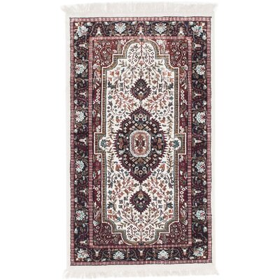 Kashmir Hand-Knotted Cream Area Rug Rug Size: 3 x 5