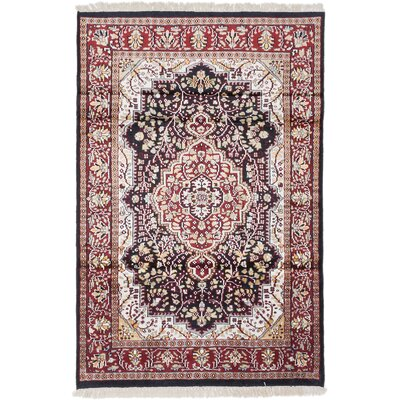 Kashmir Kerman Hand-Knotted Dark Navy Area Rug