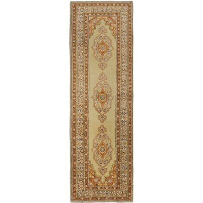 One-of-a-Kind Antique Anatolian Hand-Knotted Light Yellow Area Rug