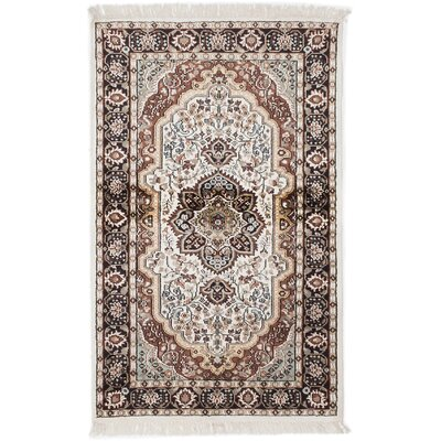 One-of-a-Kind Kashmir Kerman Hand-Knotted White Area Rug