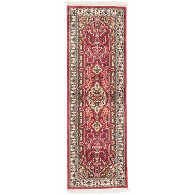 One-of-a-Kind Kashmir Kerman Hand-Knotted Red Area Rug