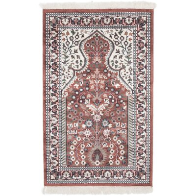 One-of-a-Kind Kashmir Kerman Hand-Knotted Brown/Cream Area Rug