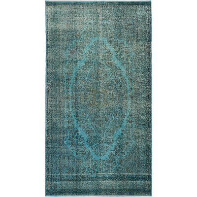 Color Transition Hand-Knotted Light Cyan-Azur Area Rug