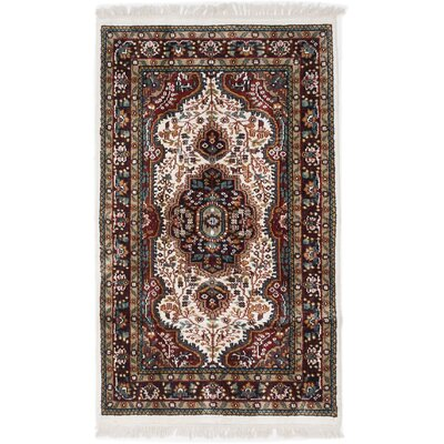 One-of-a-Kind Kashmir Kerman Hand-Knotted Cream Area Rug