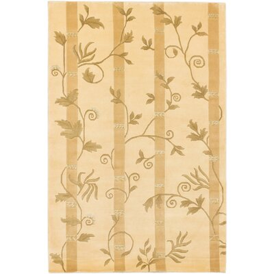 Silk Touch Hand-Knotted Light Gold Area Rug