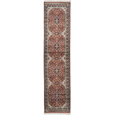 One-of-a-Kind Kashmir Kerman Hand-Knotted Dark Orange-Red Area Rug