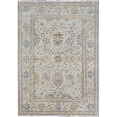 Royal Ushak Hand-Knotted Cream Area Rug Rug Size: 98 x 138
