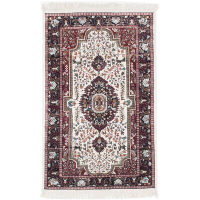 One-of-a-Kind Kashmir Hand-Knotted Cream Area Rug Rug Size: 3 x 411