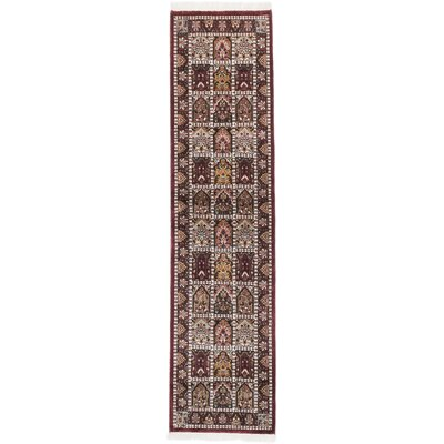 One-of-a-Kind Kashmir Kerman Hand-Knotted Brown Area Rug
