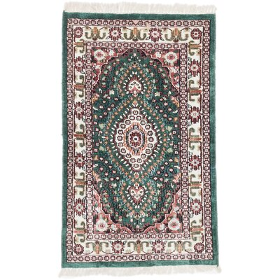 Kashmir Kerman Hand-Knotted Cream/Green Area Rug