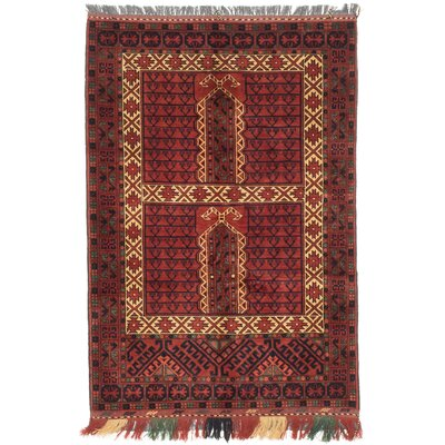 Finest Khal Mohammadi Hand-Knotted Dark Orange-Red Area Rug Rug Size: 3'6