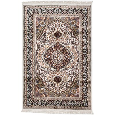 Kashmir Kerman Hand-Knotted Black Area Rug