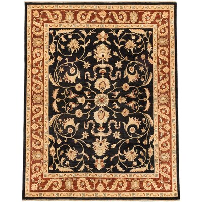 One-of-a-Kind Charlena Hand-Knotted Black/Beige Area Rug
