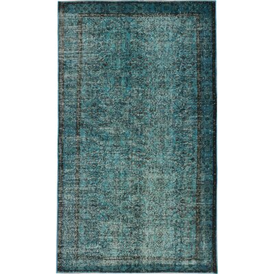 Color Transition Hand-Knotted Turquoise Area Rug