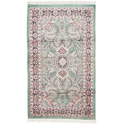 Kashmir Kerman Hand-Knotted Green/Red Area Rug