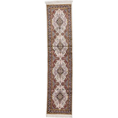 Kashmir Kerman Hand-Knotted White Area Rug