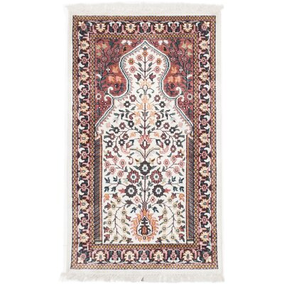 Kashmir Kerman Hand-Knotted Cream/Brown Area Rug