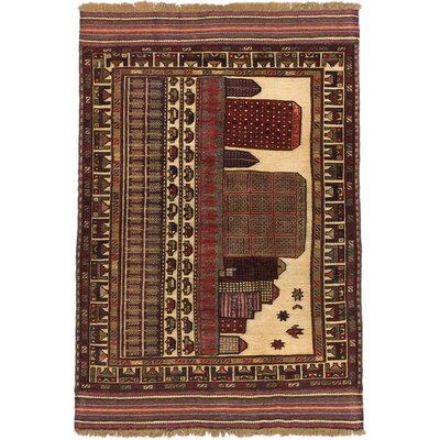 Tajik Tribal Hand-Knotted Dark Red Area Rug
