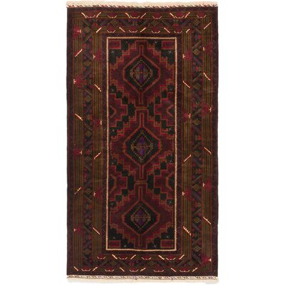 Finest Rizbaft Hand-Knotted Black/Dark Red Area Rug