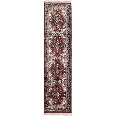 Kashmir Hand-Knotted Dark Red Area Rug Rug Size: Runner 26 x 910