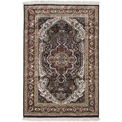 One-of-a-Kind Kashmir Kerman Handmade Silk Dark Navy Area Rug