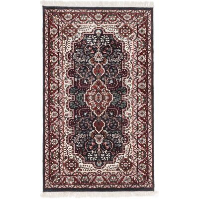 One-of-a-Kind Kashmir Kerman Hand-Knotted Dark Navy Area Rug