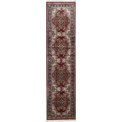 Kashmir Hand-Knotted Dark Red Area Rug Rug Size: Runner 26 x 911
