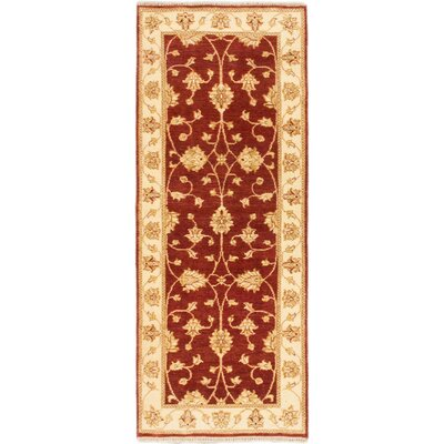One-of-a-Kind Peshawar Oushak Hand-Knotted Cream Area Rug Rug Size: Runner 25 x 61
