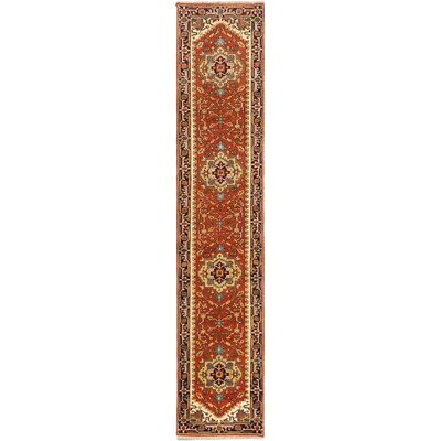 One-of-a-Kind Serapi Heritage Hand-Knotted Copper Area Rug Rug Size: Runner 26 x 12