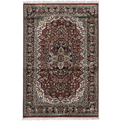 One-of-a-Kind Kashmir Kerman Handmade Silk Dark Orange/Red Area Rug