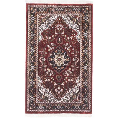 Kashmir Kerman Hand-Knotted Dark Red Area Rug