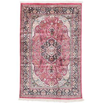 Kashmir Kerman Hand-Knotted Dark Pink Area Rug