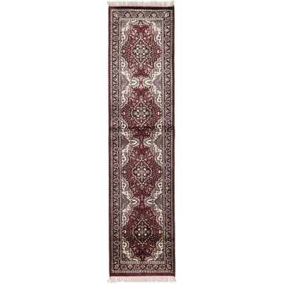 One-of-a-Kind Kashmir Kerman Hand-Knotted Dark Red Area Rug