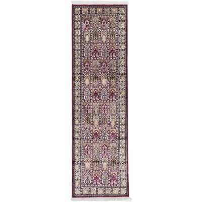 One-of-a-Kind Kashmir Kerman Hand-Knotted Burgundy Area Rug