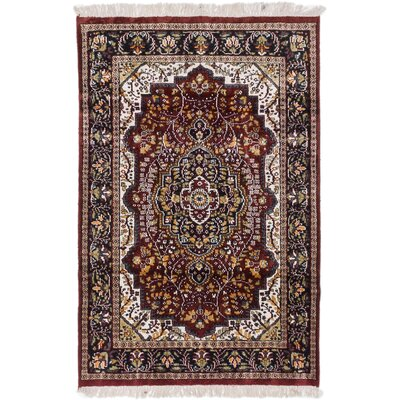 Kashmir Kerman Hand-Knotted Dark Orange-Red Area Rug