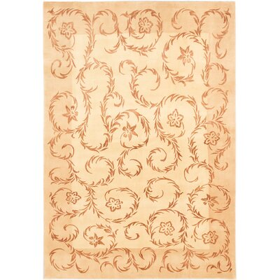 Silk Touch Hand-Knotted Beige/Ivory Area Rug