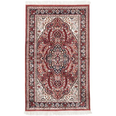Kashmir Kerman Hand-Knotted Red Area Rug